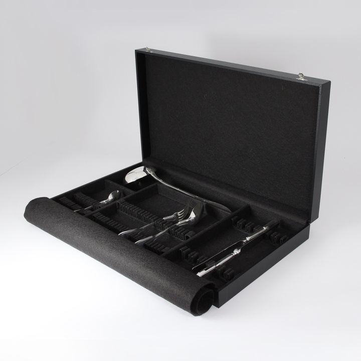 49-Piece Flatware Storage Case for dessert (black)