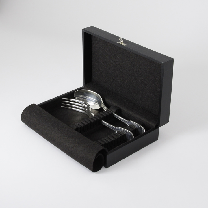 12-piece flatware storage case for dessert (black)