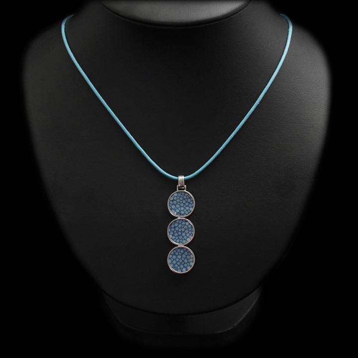 Collier cordon Trio bleu argent 925