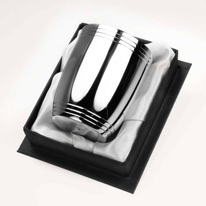 Timbale en métal argenté Tonneau  3 filets haut et bas