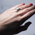 Bague facetté diamant 13 mm argent 925