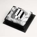 Rond de serviette droit trois filets en métal argenté