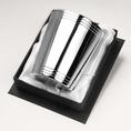 Timbale droite 3 filets haut et bas en métal argenté